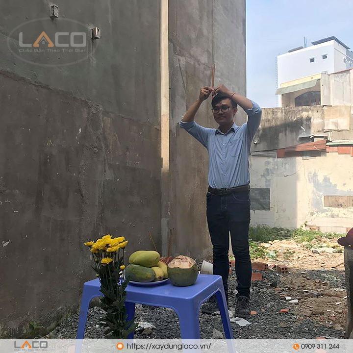 cúng động thổ khởi công xây dựng công trình nhà anh Cường tại quận 9