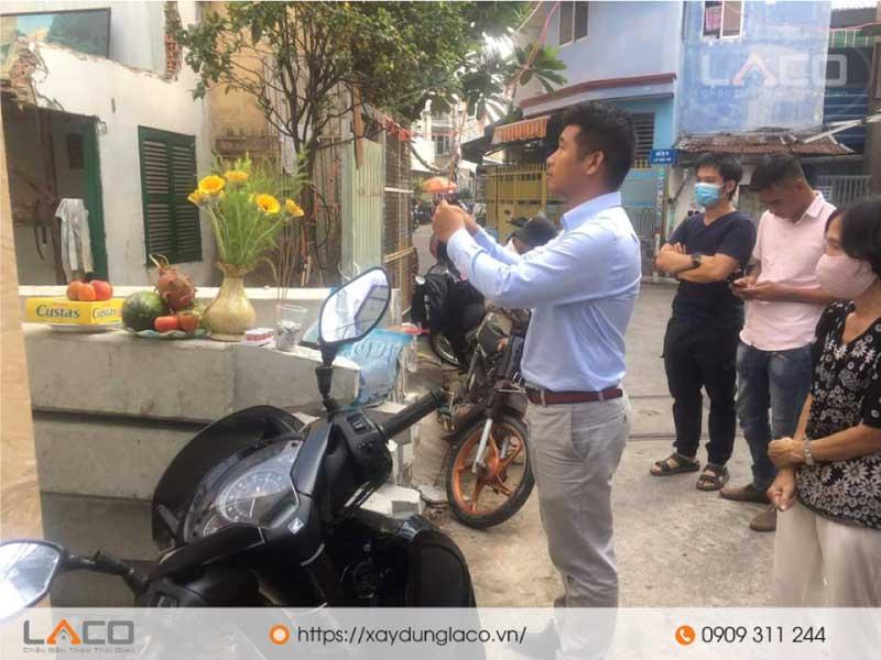 xây nhà trọn gói laco cúng động thổ để khởi công xây dựng nhà anh Luân tại quận Phú Nhuận
